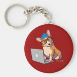 Hipster Corgi 2 (without text) Basic Round Button Keychain