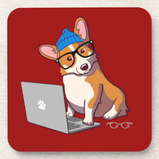 Hipster Corgi 2 (without text) Beverage Coasters