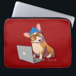 "Hipster Corgi 2 (without text) Laptop Sleeve<br><div class=""desc"">Baroo? Hipster Corgi blogs about gluten-free dog food.</div>"