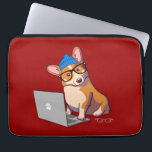 "Hipster Corgi 2 (without text) Laptop Sleeve<br><div class=""desc"">Baroo? Hipster Corgi blogs about gluten-free dog food.</div>"