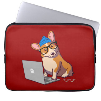 Hipster Corgi 2 (without text) Laptop Sleeve