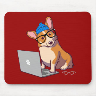 Hipster Corgi 2 (without text) Mouse Pad