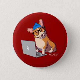 Hipster Corgi 2 (without text) Pinback Button