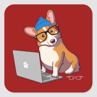 Hipster Corgi 2 (without text) Square Sticker