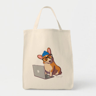Hipster Corgi 2 (without text) Tote Bag
