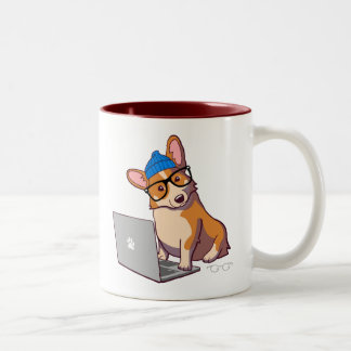 Hipster Corgi 2 (without text) Two-Tone Coffee Mug