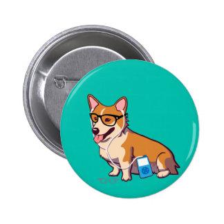 Hipster Corgi Button