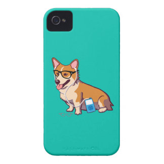 Hipster Corgi iPhone 4/4S Case-Mate Case (without