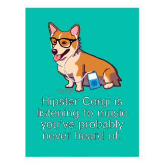 Hipster Corgi Postcard