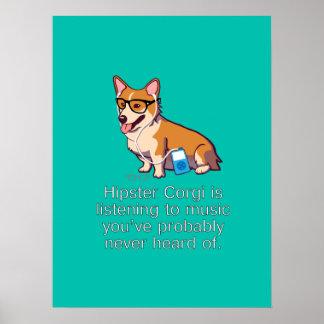 Hipster Corgi Poster