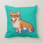 Hipster Corgi (without text) Pillow