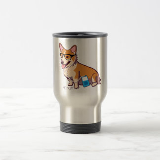 Hipster Corgi (without text) Travel Mug