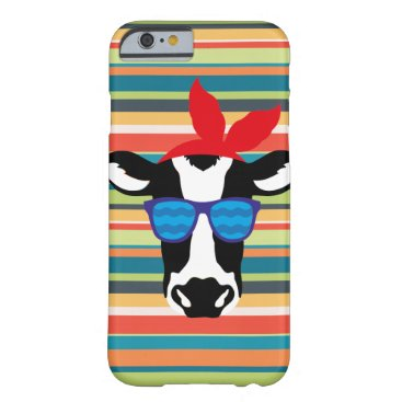 Hipster Cow on Stripes Barely There iPhone 6 Case