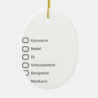 Hipster creativas adorno navideño ovalado de cerámica