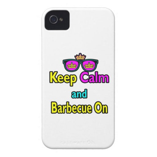 Hipster Crown  Keep Calm And Barbeque On iPhone 4 Cover