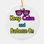 Hipster Crown  Keep Calm And Barbeque On Ornament