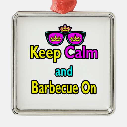 Hipster Crown  Keep Calm And Barbeque On Christmas Ornaments