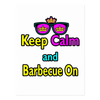 Hipster Crown  Keep Calm And Barbeque On Postcard