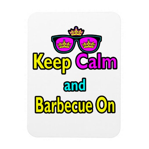 Hipster Crown  Keep Calm And Barbeque On Vinyl Magnet