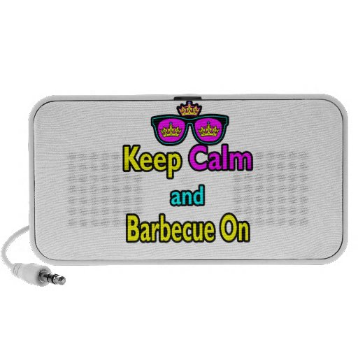 Hipster Crown  Keep Calm And Barbeque On iPod Speaker