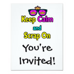 Hipster Crown Sunglasses Keep Calm And Scrap On 4.25x5.5 Paper Invitation Card