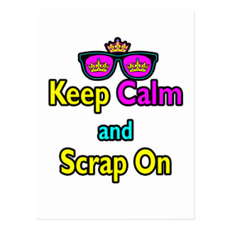 Hipster Crown Sunglasses Keep Calm And Scrap On Postcard