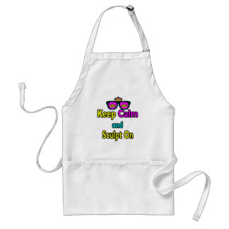 Hipster Crown Sunglasses Keep Calm And Sculpt On Adult Apron