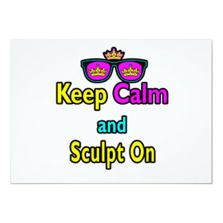 Hipster Crown Sunglasses Keep Calm And Sculpt On 5x7 Paper Invitation Card