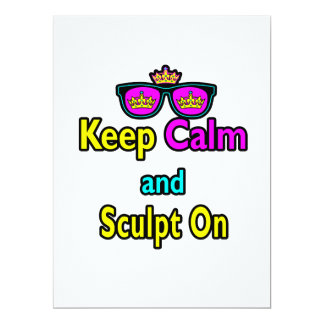 Hipster Crown Sunglasses Keep Calm And Sculpt On 6.5x8.75 Paper Invitation Card