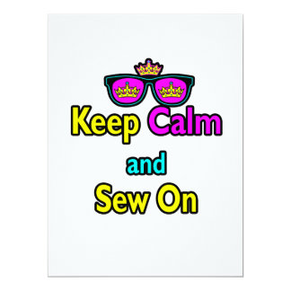 Hipster Crown Sunglasses Keep Calm And Sew On Card