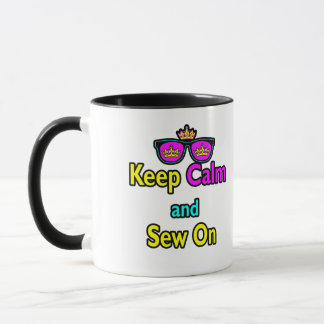 Hipster Crown Sunglasses Keep Calm And Sew On Mug
