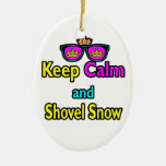 Hipster Crown Sunglasses Keep Calm And Shovel Snow Double-Sided Oval Ceramic Christmas Ornament