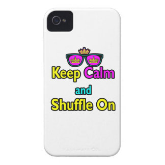 Hipster Crown Sunglasses Keep Calm And Shuffle On Case-Mate iPhone 4 Case