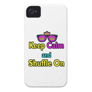 Hipster Crown Sunglasses Keep Calm And Shuffle On iPhone 4 Case-Mate Case