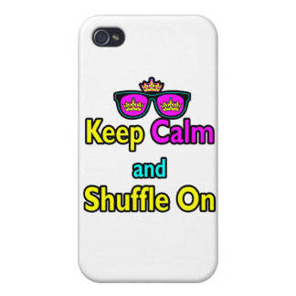 Hipster Crown Sunglasses Keep Calm And Shuffle On iPhone 4 Cover