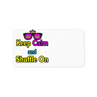 Hipster Crown Sunglasses Keep Calm And Shuffle On Label