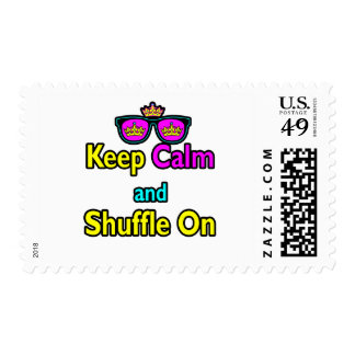 Hipster Crown Sunglasses Keep Calm And Shuffle On Postage