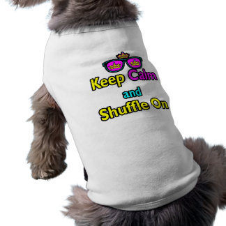 Hipster Crown Sunglasses Keep Calm And Shuffle On Tee