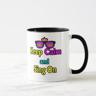Hipster Crown Sunglasses Keep Calm And Sing On Mug