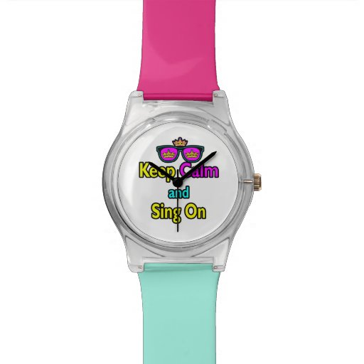 Hipster Crown Sunglasses Keep Calm And Sing On Wrist Watch