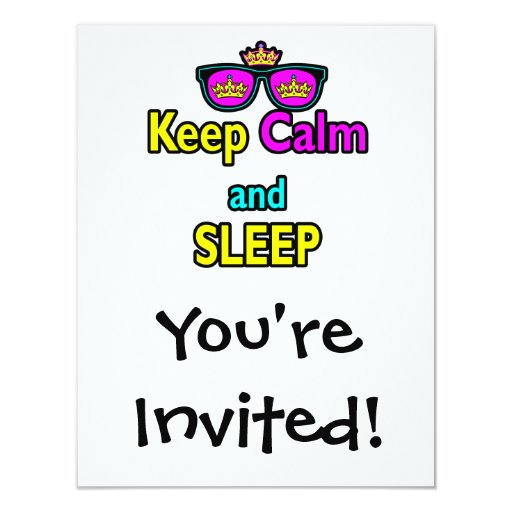Hipster Crown Sunglasses Keep Calm And Sleep 4.25x5.5 Paper Invitation Card