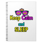 Hipster Crown Sunglasses Keep Calm And Sleep Spiral Notebook