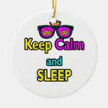 Hipster Crown Sunglasses Keep Calm And Sleep Christmas Tree Ornaments
