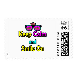 Hipster Crown Sunglasses Keep Calm And Smile On Postage Stamps