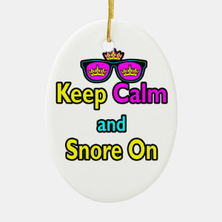 Hipster Crown Sunglasses Keep Calm And Snore On Ceramic Ornament