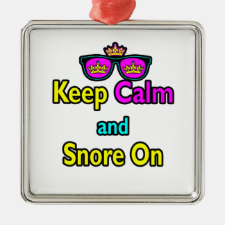 Hipster Crown Sunglasses Keep Calm And Snore On Metal Ornament