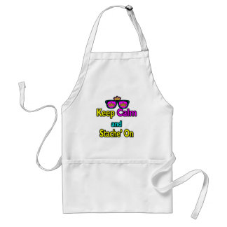 Hipster Crown Sunglasses Keep Calm And Stache On Apron