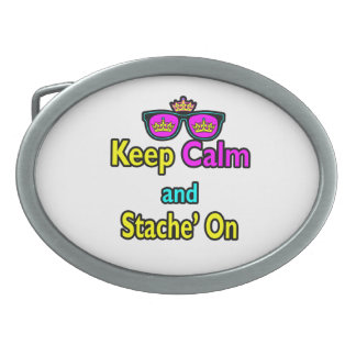 Hipster Crown Sunglasses Keep Calm And Stache On Oval Belt Buckles