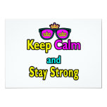 Hipster Crown Sunglasses Keep Calm And Stay Strong Personalized Invites