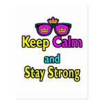 Hipster Crown Sunglasses Keep Calm And Stay Strong Postcards
